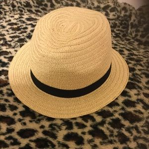 Straw fedora/ black ribbon
